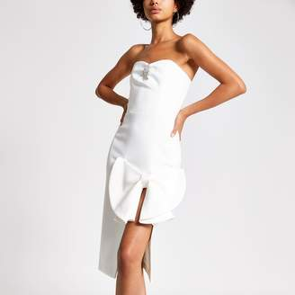 River Island Womens White bow front embellished bandeau dress