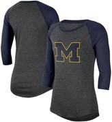 Nike Women's Charcoal/Navy Michigan Wolverines 3/4-Sleeve Logo Raglan T-Shirt