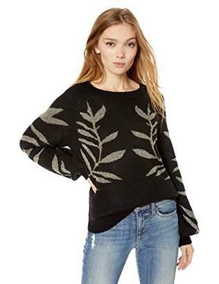 Lucky Brand Women's Metallic Leaf Pullover Sweater