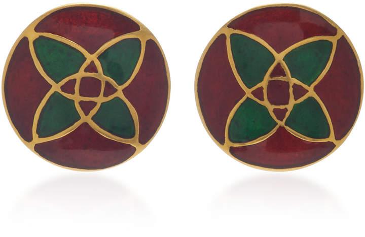 Amrapali 18K Gold and Enamel Earrings