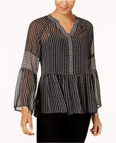 Style&Co. Style & Co Style & Co Petite Striped Semi-Sheer Top, Created for Macy's