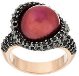Honora As is Cultured Pearl 2.0 ct tw Black Spinel Bronze Ring