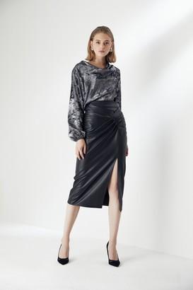 Explosion London Draped Black Leather Midi Skirt with Slit