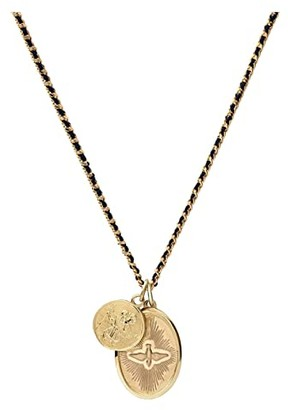 Miansai 18 Mini Dove Pendant Necklace On 2 mm Woven Chain (Navy/Gold Polished) Necklace