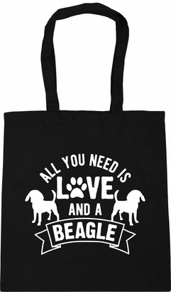 Hippowarehouse All you need is love and a Beagle Tote Shopping Gym Beach Bag 42cm x38cm 10 litres