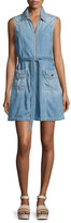7 For All Mankind Belted Zip-Front Denim Dress, Indigo