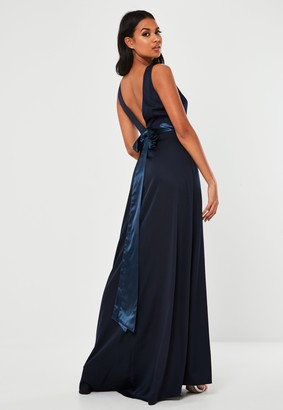 Missguided Navy Sleeveless Low Back Bow Maxi Dress