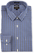 Neiman Marcus Trim-Fit Regular-Finish Check Dress Shirt, Blue