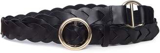 Frame Braided O-Ring Double Wrap Leather Belt