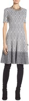 St. John Diamond Jacquard Fit and Flare Dress