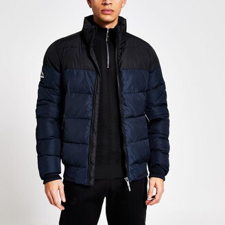 Superdry Mens River Island Navy block zip front puffer jacket