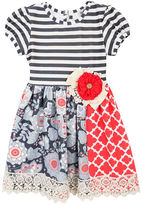 Rare Editions Short-Sleeve Mixed-Print Dress - Toddler Girls 2t-4t