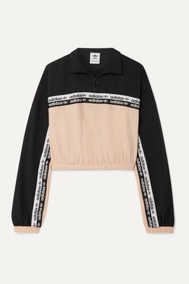 adidas Cropped Striped Shell Track Jacket - Blush