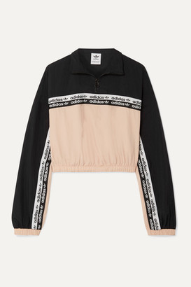 adidas Cropped Striped Shell Track Jacket - Blush