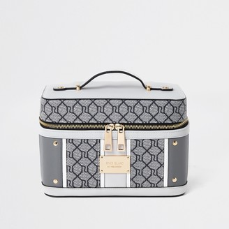 River Island Womens Grey RI Monogram Vanity Case
