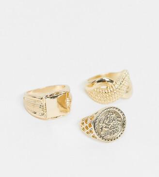 Reclaimed Vintage Inspired gold rings multipack