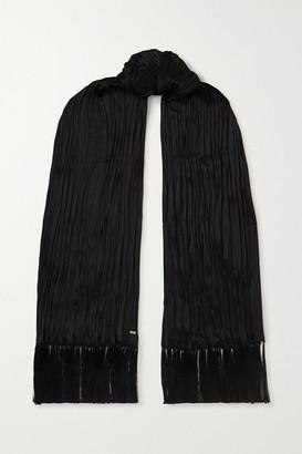Saint Laurent Tasseled Plisse-silk Scarf - Black