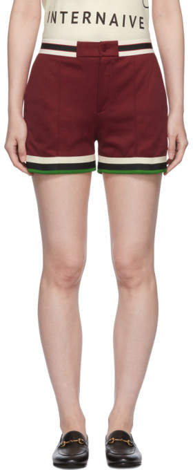 Gucci Burgundy Webbing Tape Shorts