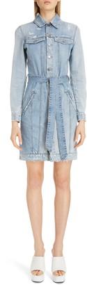 Givenchy Logo Belt Long Sleeve Distressed Denim Shirtdress
