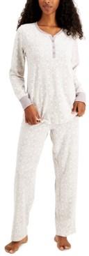 Charter Club Thermal Fleece Printed Pajama Set, Created for Macy's