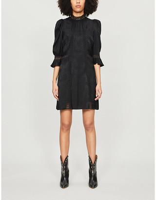 The Kooples Abstract-print high-neck crepe mini dress