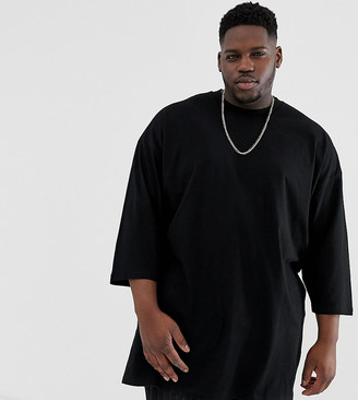 Asos Design DESIGN Plus oversized super longline t-shirt with 3/4 sleeve in black