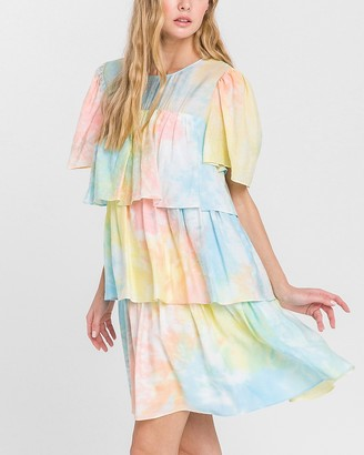 Express English Factory Tie-Dye Tiered Mini Dress