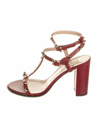 Valentino Rockstud Accents Leather T-Strap Sandals Red