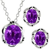 Gem Stone King 6.87 Ct Oval Purple Amethyst Gemstone 14k White Gold Pendant Earrings Set