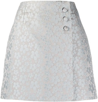 ALEXACHUNG A-line embroidered floral skirt