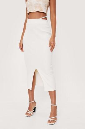 Nasty Gal Womens Cut Out Slit Bodycon Midi Skirt - White - 4