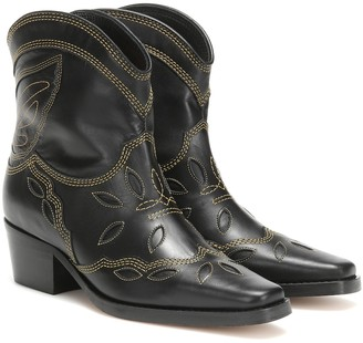 Ganni Low Texas leather cowboy boots