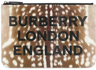 Burberry deer print zip clutch