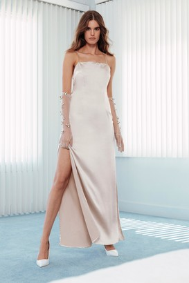 Nasty Gal Womens Until Death Do Us Party Scoop Satin Bridal Dress - white - 12