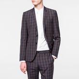 Paul Smith Men's Slim-Fit Navy And Burgundy Tonal-Check Merino-Wool Blazer