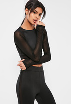 Missguided Active Black Long Sleeve Cropped Sports Top