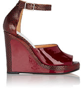 Maison Margiela Women's Ankle-Strap Wedge Sandals-BURGUNDY, BROWN