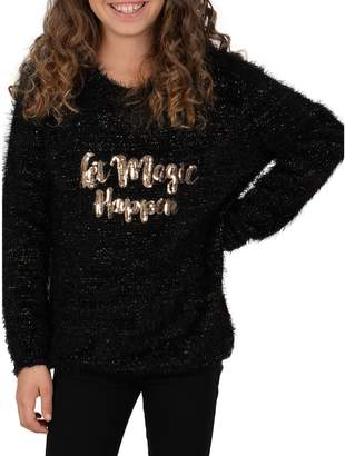 Mini Molly Girl's Fluffy Faux Fur Magic Text Sweater