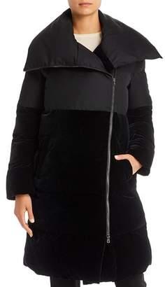 Giorgio Armani Mid-Length Velvet-Detail Puffer Coat