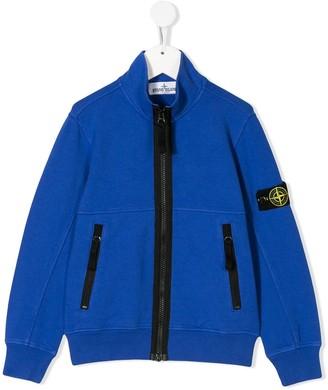 Stone Island Junior Logo Patch High Collar Jacket