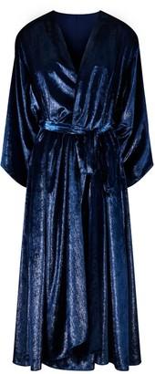 Isabel Manns Reversible Chloe Velvet Kimono - Midnight Shimmer & Navy
