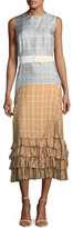 Brock Collection Dottie Plaid Ombre Silk Twill Convertible Dress