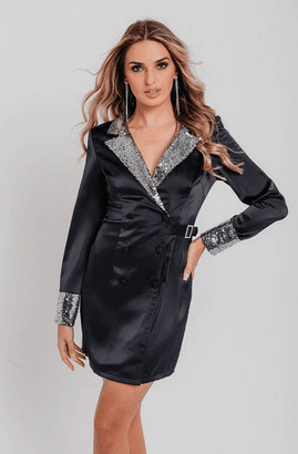 Pretty Darling Black Satin Silver Sequin Detail Blazer Dress