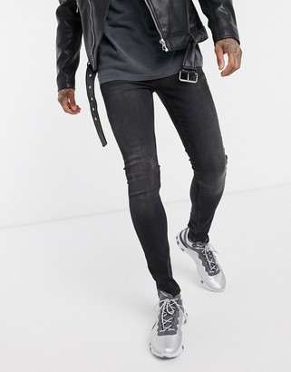 Topman organic spray on jeans in washed black