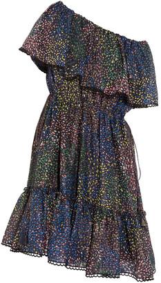 Chloé Firework Off-the-shoulder Metallic Printed Cotton-blend Mini Dress