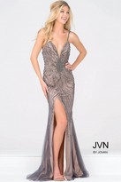 Jovani Spaghetti Strap High Slit Beaded Dress JVN36793