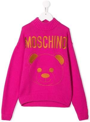 Moschino Kids embroidered logo jumper