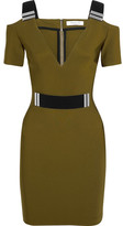Thierry Mugler Cutout Embellished Stretch-crepe Mini Dress - Army green