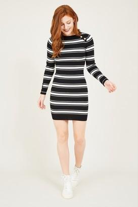 Yumi Black Stripe Knitted Bodycon Dress