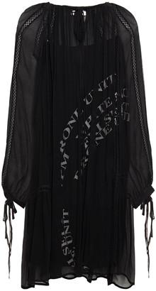 McQ Lattice-trimmed Gathered Crepon Dress